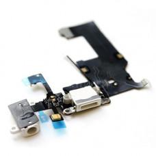 Шлейф нижний iPhone 5: разъем зарядки (белый) с аудио разъемом и микрофоном