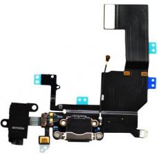 Шлейф нижний iPhone 5C: разъем зарядки (черный) с аудио разъемом и микрофоном