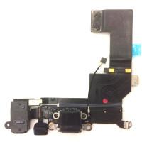 Шлейф нижний iPhone 5S: разъем зарядки (черный) с аудио разъемом и микрофоном