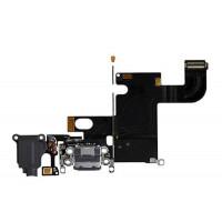 Шлейф нижний iPhone 6: разъем зарядки (черный) с аудио разъемом и микрофоном