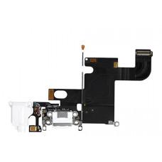 Шлейф нижний iPhone 6: разъем зарядки (белый) с аудио разъемом и микрофоном
