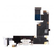 Шлейф: разъем зарядки (белый) с аудио и микрофоном iPhone 6 Plus