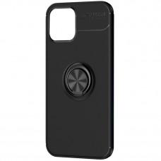 Чехол противоударный черный iPhone 12/12 Pro с кольцом