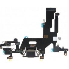Шлейф нижний iPhone 11 с разъемом зарядки черный