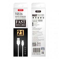 Кабель USB XO NB36 Lightning to USB (2.1A) белый