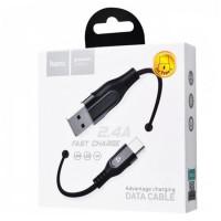 Кабель HOCO U54 Micro USB 1.2м черный плетеный с индикатором