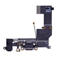 Шлейф нижний iPhone 5 SE: разъем зарядки (черный) с аудио разъемом и микрофоном