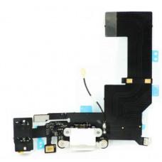 Шлейф нижний iPhone 5 SE: разъем зарядки (белый) с аудио разъемом и микрофоном