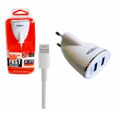 Зарядное устройство Moxom 2xUSB 2.4A с кабелем Lightning 1м